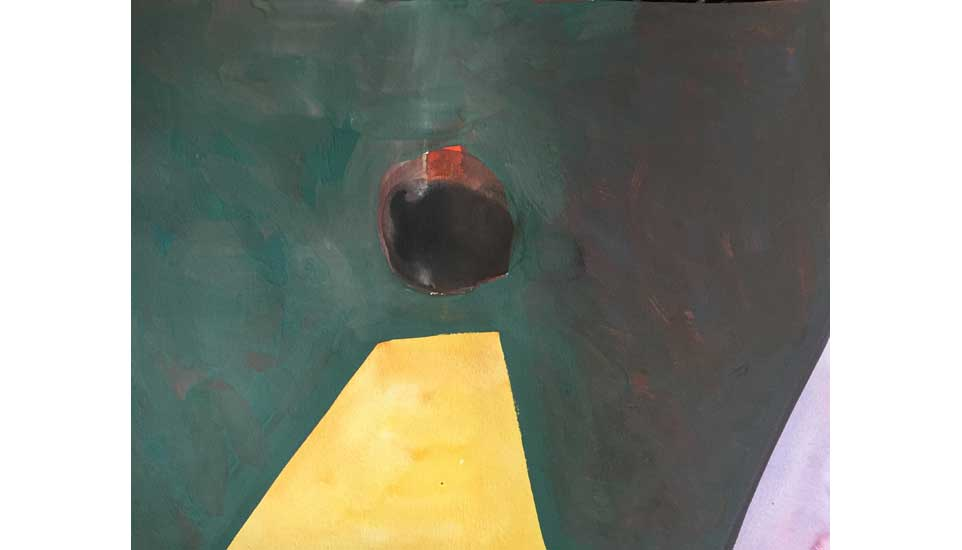 tussenruimtes tussen dimensies nr 4 2015 27x35 cm, gouache op papier